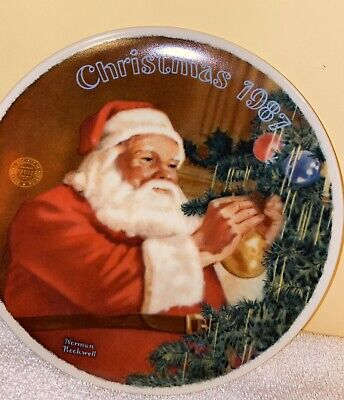$ CDN14.39 • Buy Bradford Exchange Norman Rockwell Christmas 1987 Santa's Golden Gift Plate Coa