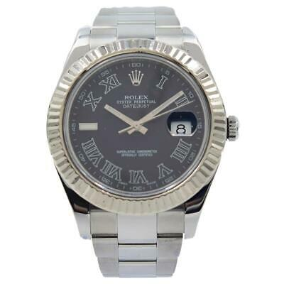 $ CDN10526.93 • Buy Rolex Datejust II - 116334 - 18k White Gold Fluted Bezel Grey Roman Dial - 40mm