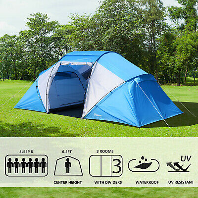 6 Person Compartment Tent Portable Large Family Camping Waterproof Easy Set Up • 142.48£