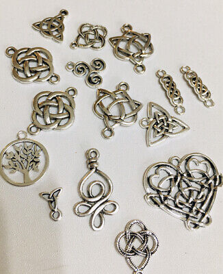 £2.75 • Buy Celtic Knot Charms X 15 Mixed Silver Celtic Pagan  Wiccan Jewelly Making Charm