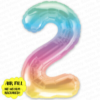 AU5.99 • Buy 2nd BIRTHDAY BALLOON 16  TRANSLUCENT RAINBOW NUMBER 2 BALLOON NO HELIUM REQUIRED
