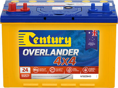 AU249 • Buy Century N70zzxhd Overlander 4x4 Battery Dual Post 735 Cca + 100ah 24 Mths Nation