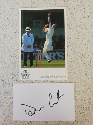 England Cricket Hat-trick Hero Dominic Cork Hand-signed Card & Tccb Postcard • 6.99£
