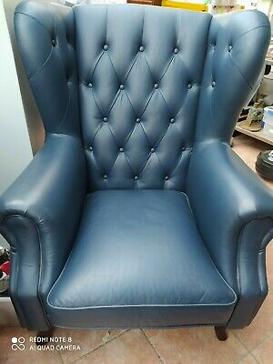 AU590 • Buy Price Reduced - New Navy Leather Wingback Chair