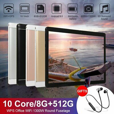 AU118.99 • Buy 10.1 Inch Bluetooth Tablet Android 9.0 8+512G Deca Core Dual Camera Wifi Phablet