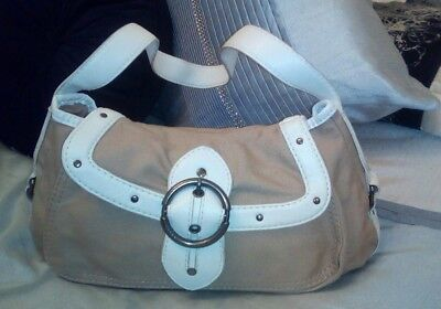 Mexx Cream Leather Fabric Handbag Shoulder Bag  • 8.49£