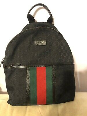 $ CDN1242.67 • Buy Gucci Black GG Supreme Canvas Backpack W/ Signature Web Detail 💯 Authentic NWT