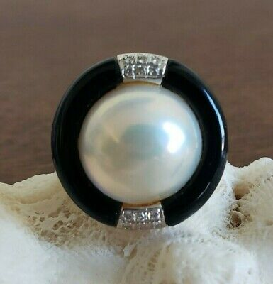 $735 • Buy Black Onyx Mabe Cultured Pearl Diamonds In 14KT Yellow Gold Ring Size 6.5 US