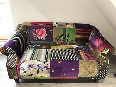 £550 • Buy Patchwork Quilt Multicolour Loveseat Knole Lawson Style Sofa + 2 CUSHIONS