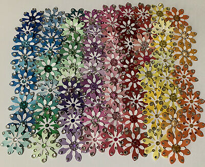 Craft Clearout 65 Handmade Daisy Paper Flower Embellishments Assorted Colours. • 3.49£
