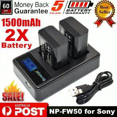 AU28.99 • Buy 2x NP-FW50 Battery & Dual Charger For Sony Alpha A3000 A3500 A6000 A6300 A6500