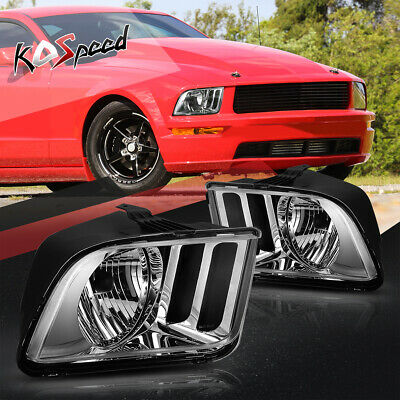 $65.99 • Buy Chrome/Clear Corner OE Style Halogen Headlight Headlamps For 05-09 Ford Mustang