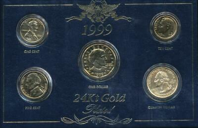 AU45 • Buy United States, 1999 24kt Gold Plated Uncirculated Year Set Of 5 Coins