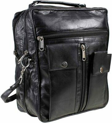 Black Real Leather Unisex Mens Travel Holiday Bag  1513 • 25£