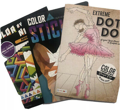 $14.99 • Buy Adult Coloring Activity Book Lot Of 3 Extreme Dot To Dot-Color By Number/Sticker
