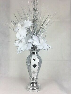 Silver & White Romany Mirrored Mosaic Finish White & Silver Flower Vase 40cm • 31.50£