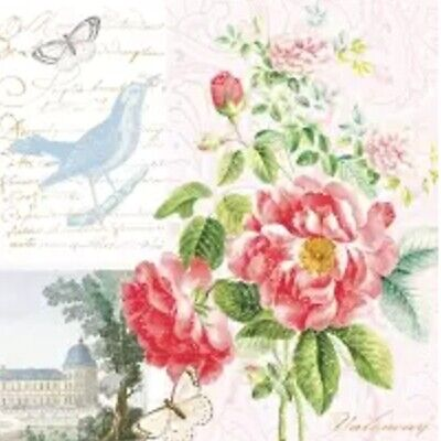4 Single Paper Napkins 33 Cm, French, Pink Flowers, Butterflies, Chateau, Bird • 1.25£