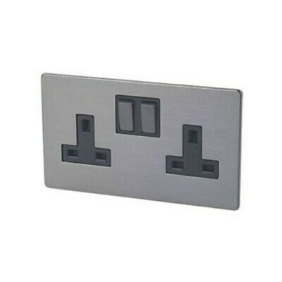 LAP 13A 2-Gang Switched Plug Socket Slate Effect Screwless Faceplate • 10.20£