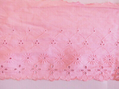 Pink Broderie Anglaise Fabric Trim Eyelet Lace 14 Cm Edging Strip Border Band • 2.50£