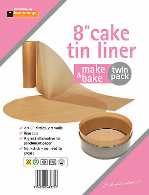 Toastabags 2 X 8 Inch Make & Bake Non-Stick 8 Inch Cake Tin Liner - 2 Pack • 3.99£