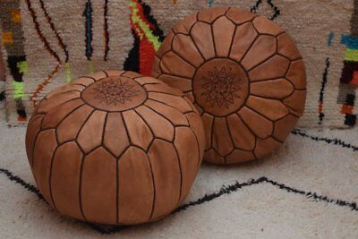 Moroccan Tanned Hand Stitched Leather Pouffe - Limited Edition - Filled  • 65.99£