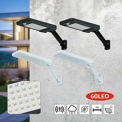Solar 60 LED Street Wall Light PIR Motion Sensor Outdoor Garden Dimmable Lamp UK • 12.99£
