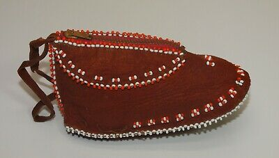 $10 • Buy Vintage Native American COIN PURSE Beaded Leather Child Size Baby Moccasin Shoe