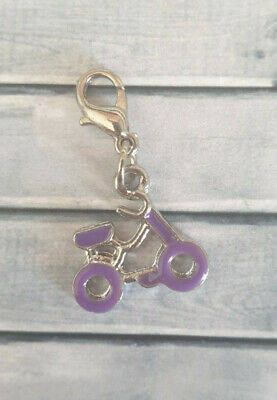 Clip On Charm - Purple Bicycle Bike Rider Sport - X03 • 2£