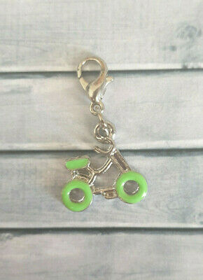 Clip On Charm - Green Bicycle Bike Rider Sport - X03 • 2£
