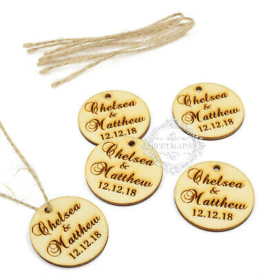 £7.99 • Buy Personalised Engraved Couple Names Wooden Round Tags With Twine Wedding Favours