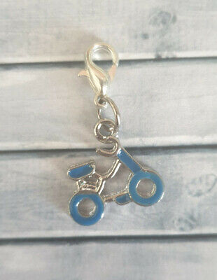 Clip On Charm - Blue Bicycle Bike Rider Sport - X03 • 2£