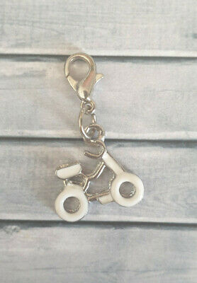 Clip On Charm - White Bicycle Bike Rider Sport - X03 • 2£
