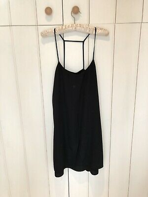 Topshop Black Slip Cami Dress Size 10 Strappy Sleeves With Cross Back • 7£