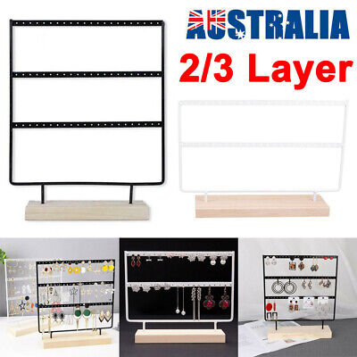 AU21.99 • Buy 2/3 Layer Wooden Earring Display Stand Holder Jewelry Necklace Rack Organizer AU