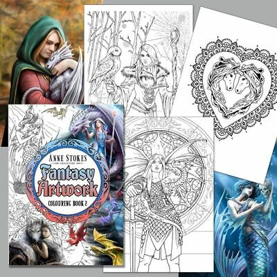 *ANNE STOKES COLOURING BOOK 2* Fantasy Art With Fairies Dragons Angels Unicorns • 9.99£