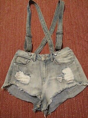 $6 • Buy H&m Denim Booty Shorts With Suspenders Sz 6