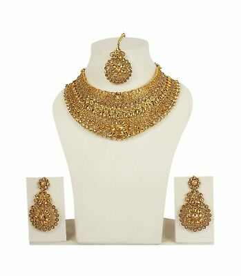 $32 • Buy Indian Bollywood Wedding Choker Necklace Gold Bridal Traditional Jewelry Set