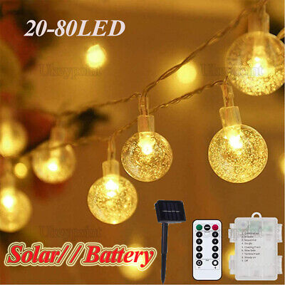 Solar/Battery LED Globe Bulb Ball Fairy Lights Party Garden Outdoor Waterproof • 9.17£