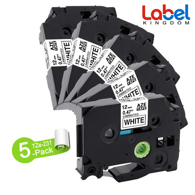 £34 • Buy Compatible Brother TZ-231 P-Touch Black On White Label Tape 12mm X 8m TZe-231