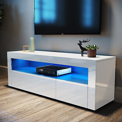 £90.09 • Buy Modern TV Unit Cabinet  White Stand High Gloss Doors 120cm With LED Lights