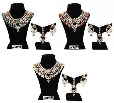 $21 • Buy Indian Necklace Fashion Gold Plated Wedding Bollywood Kundan Multi Color Jewelry