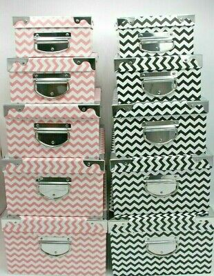 Set Of 5 Paper Boxes Storage Box 2 Colour Types Different Sizes Big Small Home  • 15.99£