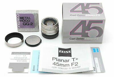 $478 • Buy [Top Mint In Box] CONTAX Carl Zeiss G Planar 45mm F/2 T* Lens W/Hood JAPAN 6344