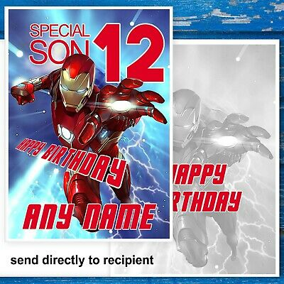 Iron Man, Avenger Birthday Card. Special Son. Customise With Name And Age. • 2.99£