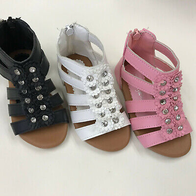 $9.99 • Buy Girls Toddler Zipper Gladiator Plate Sandals Shoes Size 5-10