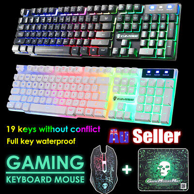 AU36.99 • Buy T6 Gaming Keyboard Mouse Set LED Rainbow Backlight USB Ergonomic For PC Laptop