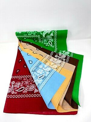 $13.99 • Buy Lot Of 6 PCS Bandana Big Size 27x27 Head Wrap Scarf In 100% Cotton(6 Color).