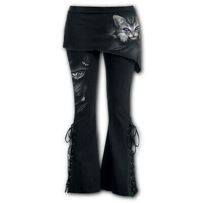NEW Spiral Direct BRIGHT EYES 2in1 Boot-Cut Leggings + Micro Slant Skirt S 8-10 • 21.99£