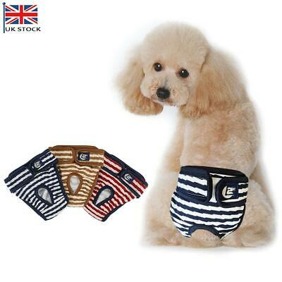 S-XL Striped Female Pet Dog Pant Bitch Season Menstrual Sanitary Nappy Diaper UK • 3.89£