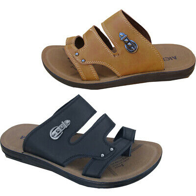 New Mens Slip On Strappy Casual Faux Leather Toe Post Summer Sliders Sandals Uk • 14.25£